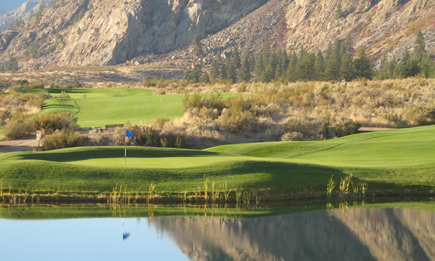 A panoramic view of the fourth hole at the Sonora Dunes Golf Course.