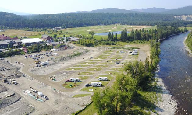 Overhead view of St. Eugene RV Park.
