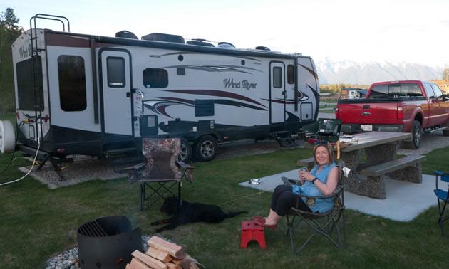 A fifth wheel camper set up at St. Eugene RV Park.