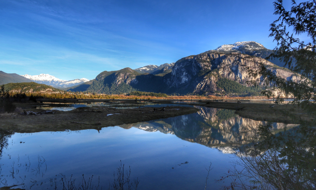 Sundown in Squamish, BC, the home of Stawamus Chief. The Chief is a popular half to full-day hike just outside of Vancouver.