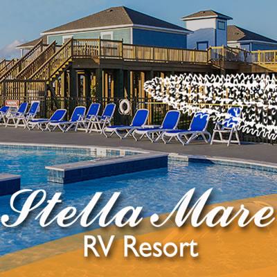 Picture of the Stella Mare RV Resort in Galveston, Texas.