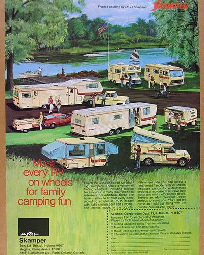 A vintage ad for a Skamper.