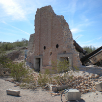 crumbling buildings at swansea ghost town in brenda arizona