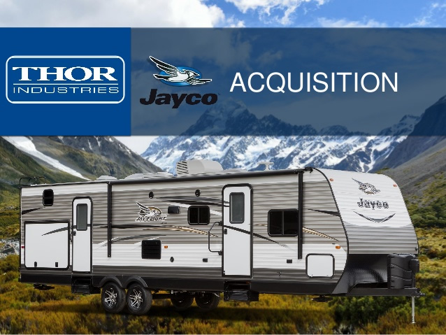 Graphic of Thor and Jayco acquisition, showing Jayco fifth wheel.