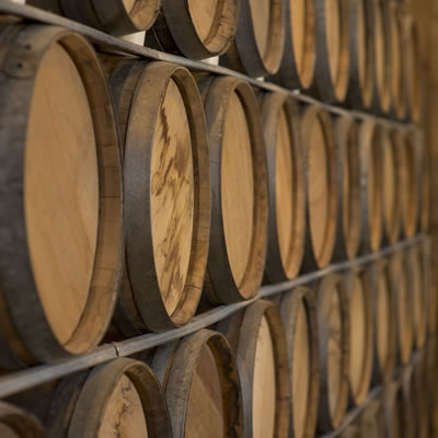 Wooden barrels of wine are stacked in rows on shelves.