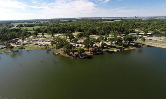 Aerial view of a Texas campground along a river.
