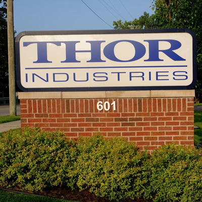 Thor Industries sign.