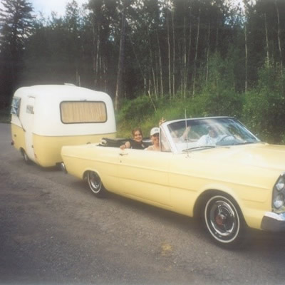 Matching 1965 Galaxie convertible and 1972 Boler.