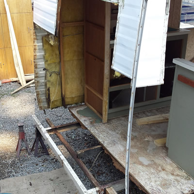 Another view of the Kustom Koach trailer being renovated.