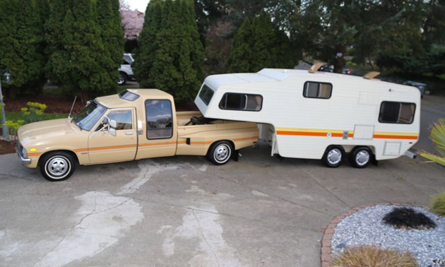 What a find! A very rare Toyota Sunrader dually pick-up with matching fifth wheel trailer.