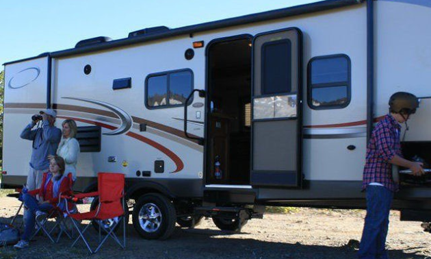 RV rental motorhome with a family