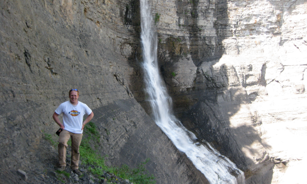 Author Dr. Charles Helm at Bergeron Falls