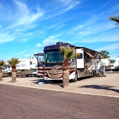 An RV parked at an Encore RV Resort