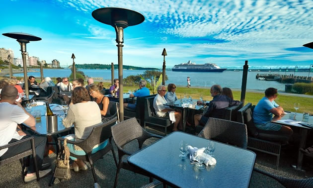 A view of Burrard Inlet from the patio of The Beachhouse Restaurant.