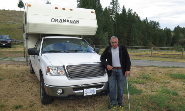 Vic Gill with his Okanagan truck camper