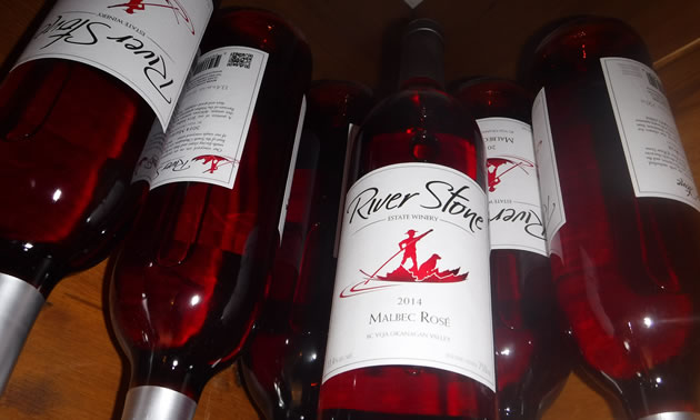 Bottles of Malbec Rosé are pictured at the River Stone Estate Winery.