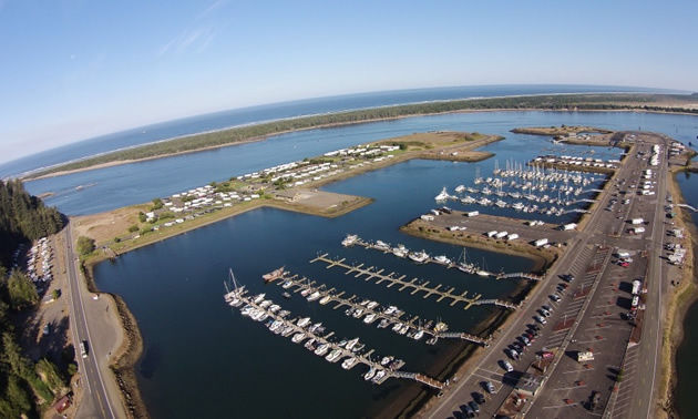 Aerial view of Winchester Bay RV Resort, Oregon