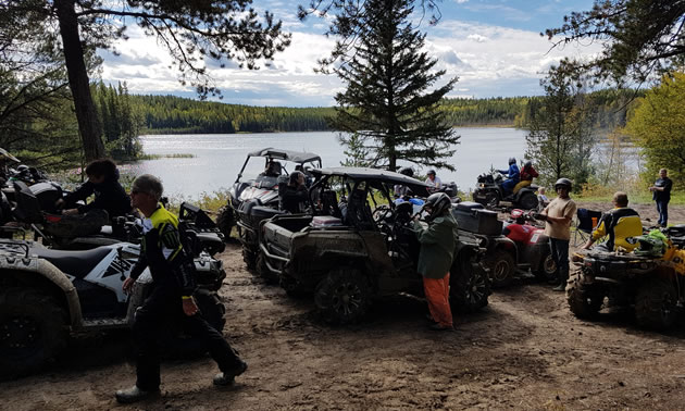 The picnic spot at Hidden Lake can accommodate quite a few riders.