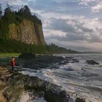 women standing on the seashore