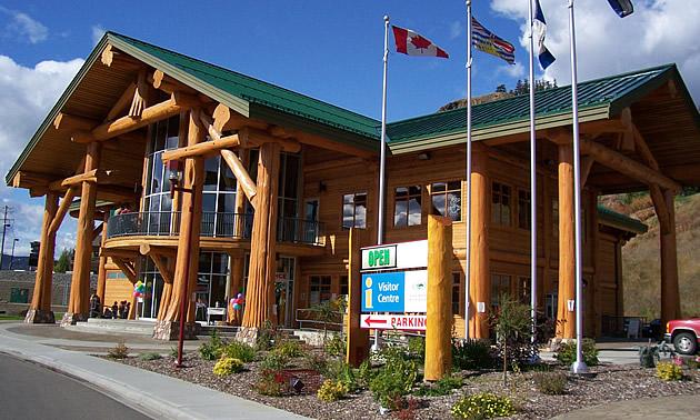 community information centre, log building