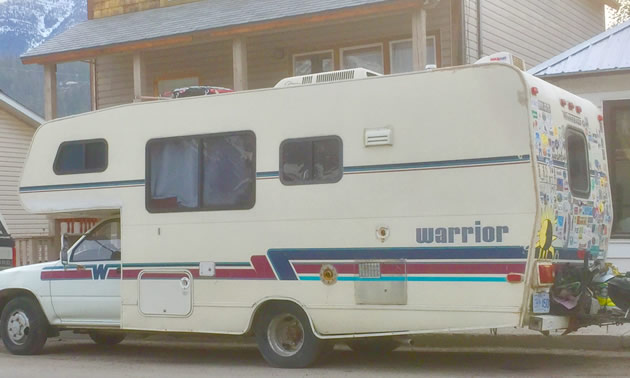 A Winnebago Warrior motorhome, view from rear.
