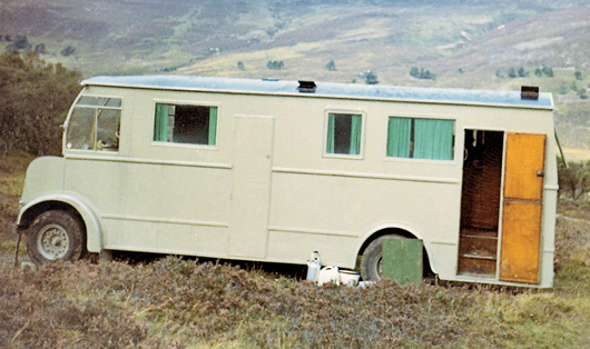 An old fashioned photo shows the wooden caravan in colour in 1967.