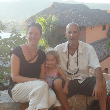Teresa and Derek Wood with their daughter, Cassia, in Mexico