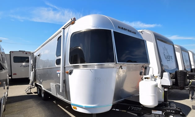 An Airstream trailer for sale at Traveland Leisure Vehicles in Airdrie, AB.