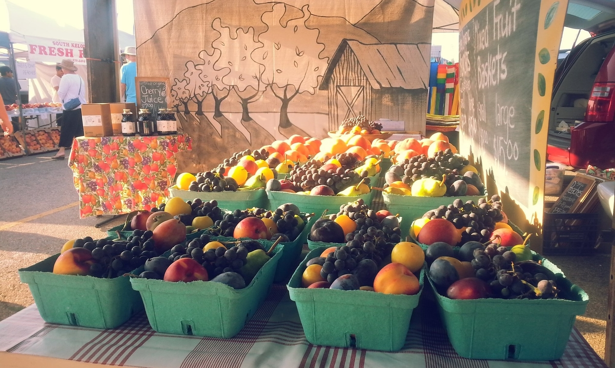 fruit at a market stand