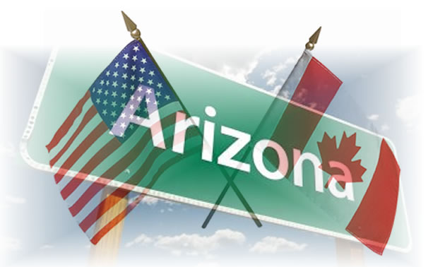 Collage of U.S. and Canadian flags with Arizona road sign.