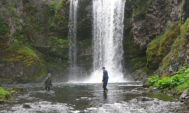 people standing beside a waterfall