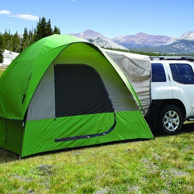 Napier, Backroadz SUV tent. This 9 foot by 9 foot tent provides a sleeping area for four to five people along with the additional space provided by the vehicle.