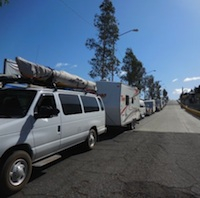 A row of RVs travelling with Bajo Amigos.