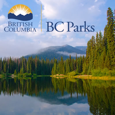 Scenic lake picture with BC Parks logo.