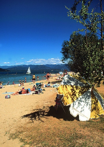 City Beach on Lake Pend Oreille in Sandpoint, Idaho is just a short stroll from downtown and a popular spot to soak up the sun.