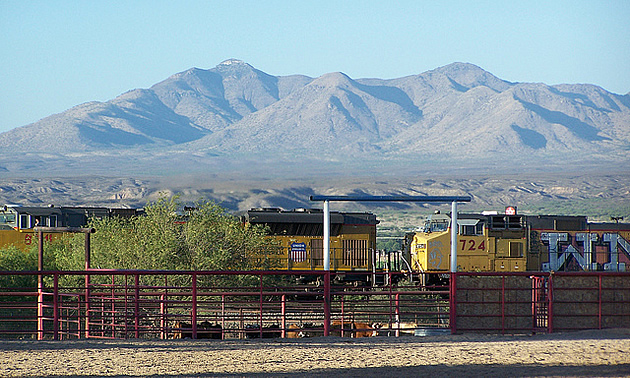train passing through Benson, Arizona