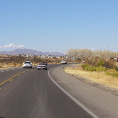 A view of the highway and mountains near Benson, Arizona.