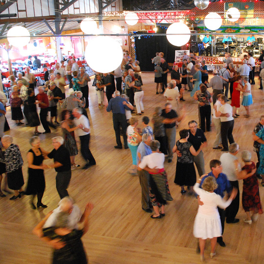 Dancing the night away is easy if the floor is cushioned by coiled horse-hair, and the interior of Danceland offers proof of that. Photo by  G. Berge