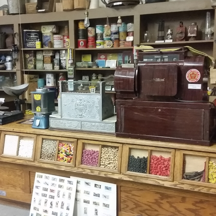 restored general store cash register and counter