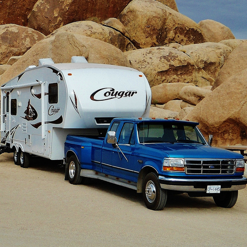 This 30-foot Keystone Cougar fifth wheel has taken the Burrs nearly 30,000 kilometres.