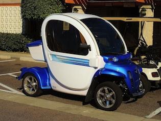The GEM Canadian electric cart.