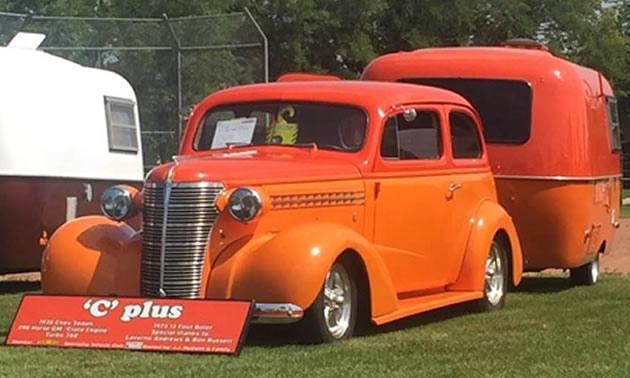 Boler-Chevy combo unit at a car show.