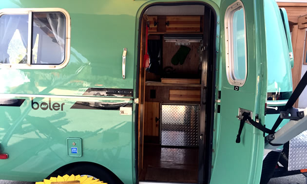 Inside of Boler trailer.
