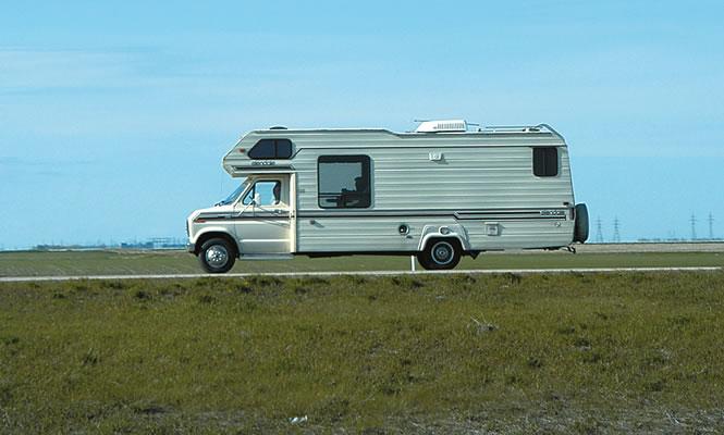 RV going through the prairies