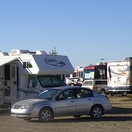 RVs boondocking in the desert
