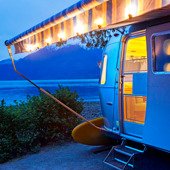 RV by the water at night