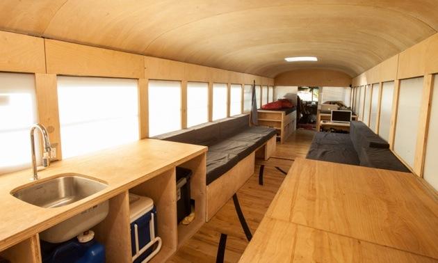 The inside of Hank's transformed school bus.