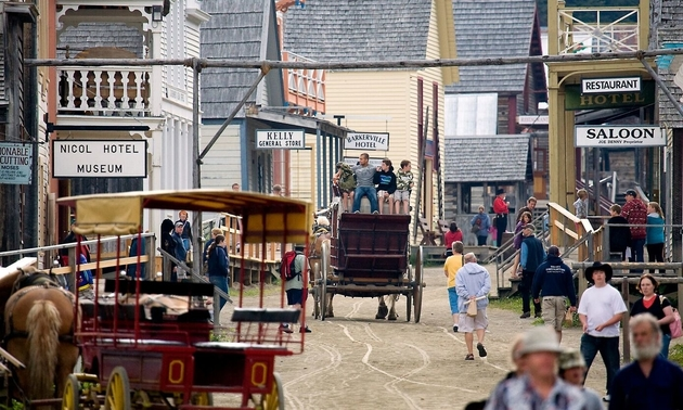 horse drawn buggy with tourists in Barkerville