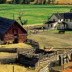 farm buildings on a plot of land