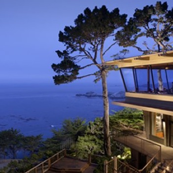 A view of the patio of Pacific Edge overlooking the Pacific ocean.